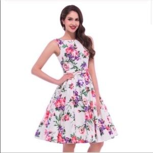 Grace Karin White Floral Dress Small S